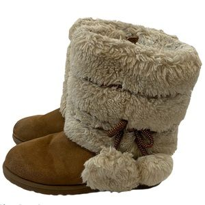 GIRLS Brown & Tan Faux Fur Short Boots 12